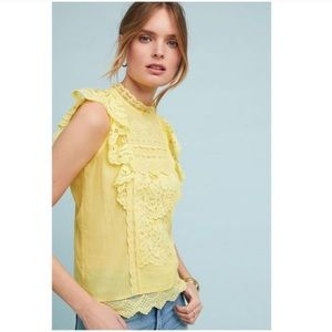 ANTHROPOLOGIE Maeve Victoria Blouse 14 Yellow Lace